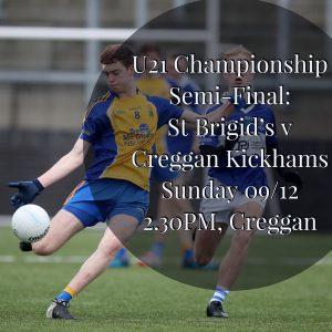 U21s In Championship SEMI-FINAL This Sunday!