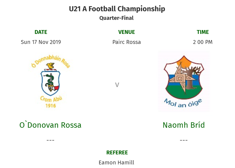 U21 Men In Championship Action This Sunday